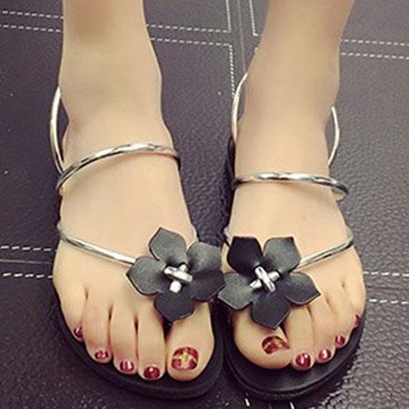 拖鞋 甜美花朵漆皮羅馬夾腳拖鞋【S1651】☆雙兒網☆ 3