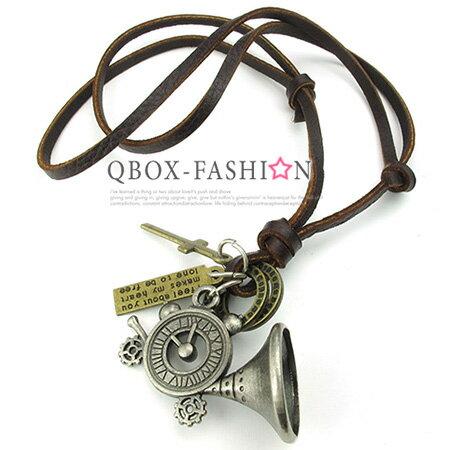 《 QBOX 》FASHION 飾品【W10024609】精緻個性復古留聲機合金皮革墬子項鍊(銀)