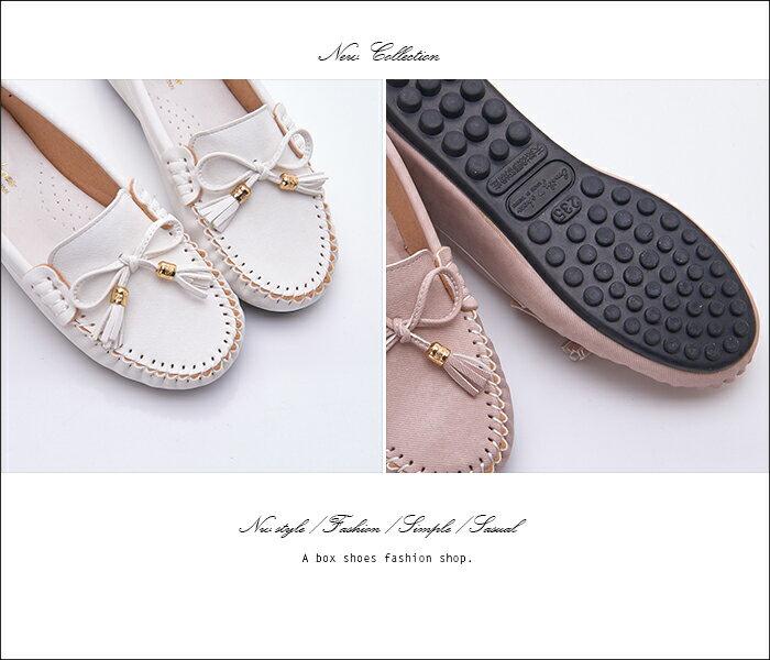 格子舖*【AA3091】MIT台灣製 蝴蝶結流蘇刷舊皮革 3.5CM隱形內增高舒適 娃娃鞋 豆豆鞋 3色 2