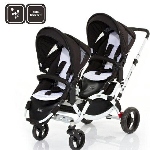 【好禮五選二】德國【ABC Design】ZOOM 嬰兒雙人推車(個性黑白)(蚊帳/雨罩-11月寄出) 1