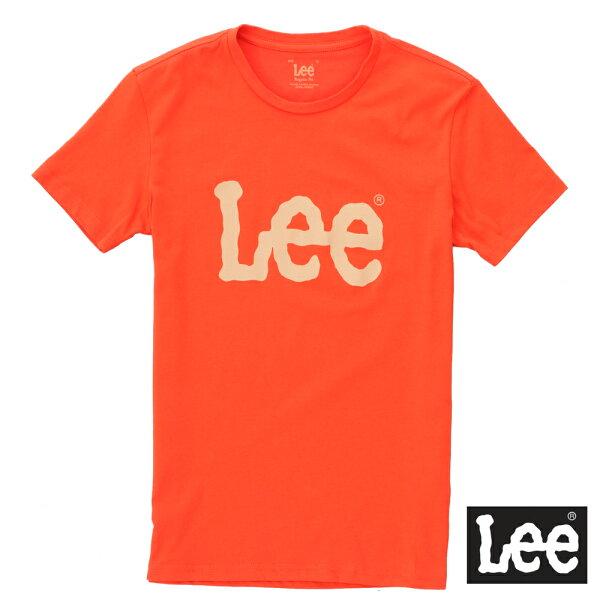 【網路限定款】Lee 短袖T恤 卡其LOGO印刷排汗質材 -男女款(橘)