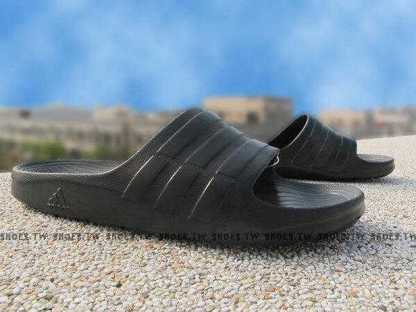 Shoestw【S77991】ADIDAS DURAMO SLIDE 拖鞋 一體成型 全黑 男女都有