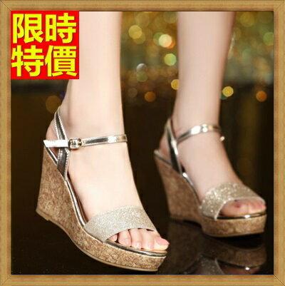 厚底涼鞋楔型涼鞋-時尚閃亮優雅魅力真皮女坡跟涼鞋4色69w16【獨家進口】【米蘭精品】