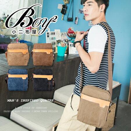 ☆BOY-2☆【NQ-KE724】側背包簡約潮流休閒素面拼接皮標帆布肩背包 0