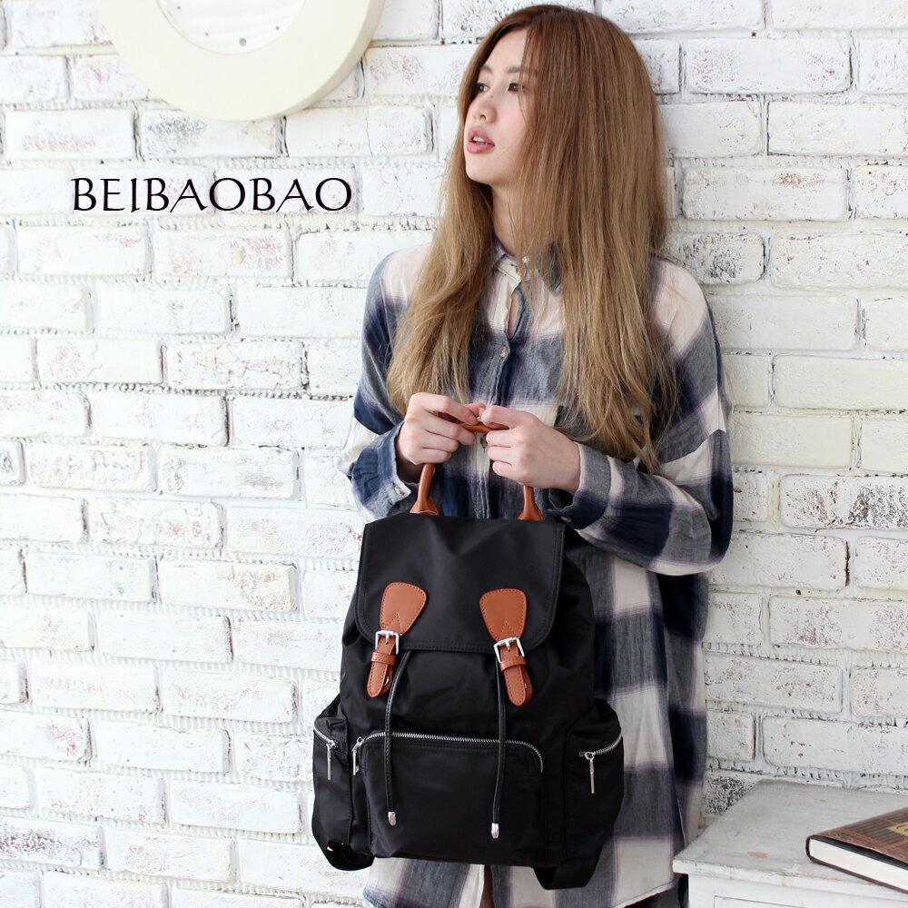 【BEIBAOBAO】倫敦學院防水布配真皮後背包(共兩色:時尚黑) 0