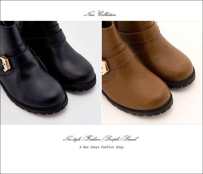 格子舖*【KW9376】MIT台灣製 韓版摩登皮革時尚金屬 拉鍊穿拖 舒適好走5CM中粗跟短靴 2色 2