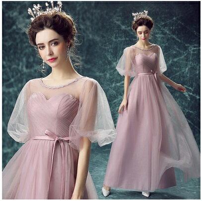 天使嫁衣【AE9609】藕粉色網紗公主袖優雅舞台長款晚禮服˙預購訂製款