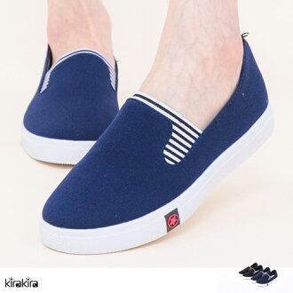 懶人鞋-SALE-kirakira-樂活假期條紋厚底休閒鞋 版型偏小-2色-現+預【011600283】
