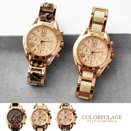 手錶 玫瑰金仿三眼羅馬刻度氣質女孩腕錶 特殊紋路錶帶  柒彩年代~NE1499~單支售價