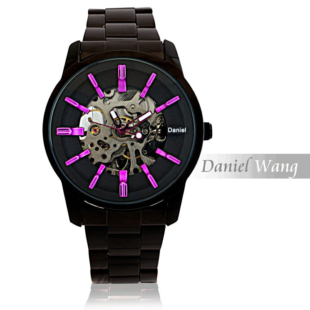 Daniel Wang DW-3142-IP 絢麗閃電雙面鏤空指針式全自動機械錶 5
