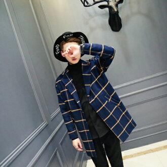 風衣外套中長版格紋大衣-時尚紳士品味毛呢男外套2色73ip2【獨家進口】【米蘭精品】