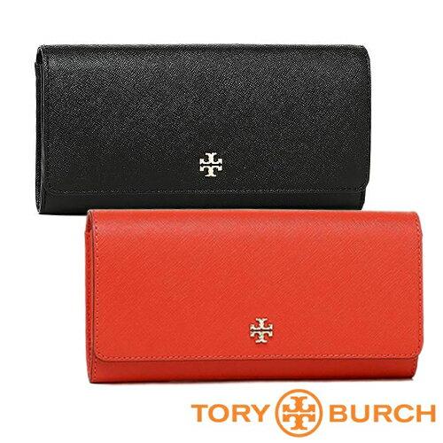 【Tory Burch】信封式壓釦長夾(黑/紅) 0