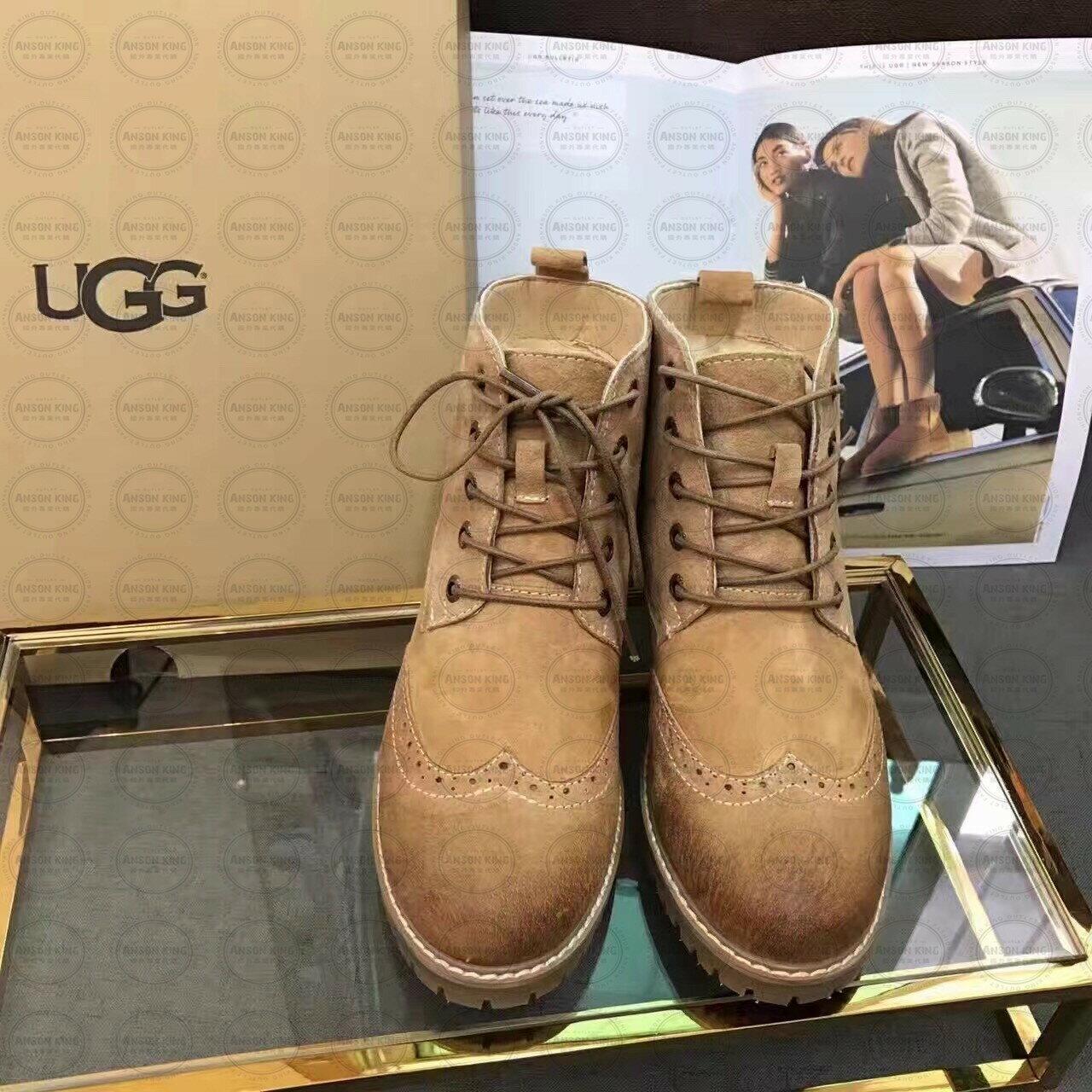 OUTLET正品代購 澳洲 UGG 女款加厚磨砂面 馬汀靴 中長靴 保暖 真皮羊皮毛 雪靴 短靴 駝色 0