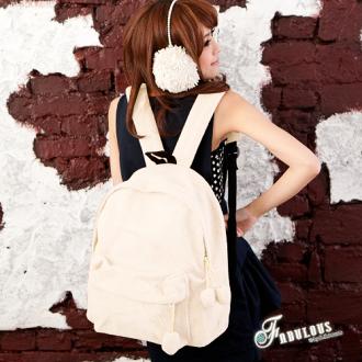 ☆Fabulous☆ 情氛冬歌【FE2428】可愛復古流行感泰迪熊毛毛圓圓吊飾大容量後背包