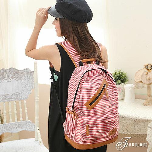 寶貝窩 Pretty【FH88012】日系甜心馬卡龍百搭格子趣斜拉練多功能後背包