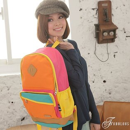 寶貝窩  Attractive【KE0086】日系元氣樂活學院風豬鼻子斜拉鍊設計撞色混搭後背包