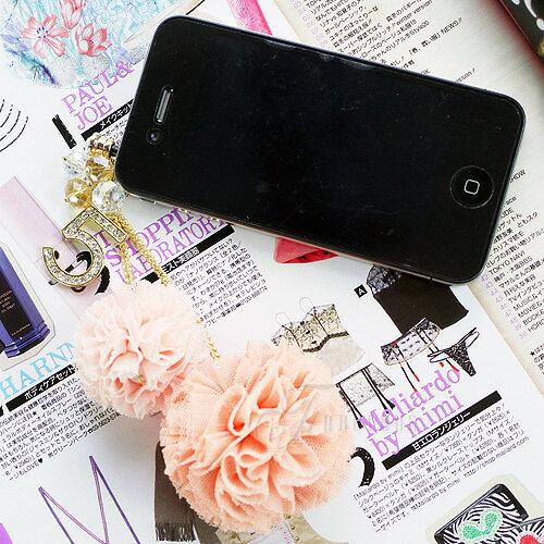 寶貝窩 Perhaps【KL01008】韓國時尚首爾華麗水鑽NO.5彩色粉嫩色系球球耳機塞手機吊飾 iphone 三星 HTC 3.5mm耳機防塵塞