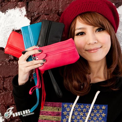 ☆Fabulous☆SUNLIFE【LP3500】彩色亮麗真皮革長型小錢包