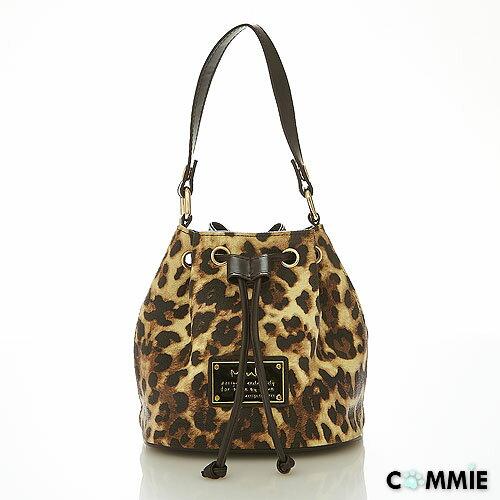 寶貝窩 【MA23261】日韓Mink時尚小野貓系精緻優質感豹紋小巧迷你水桶包