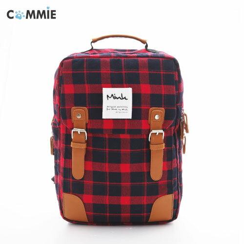 後背包-日韓Mink學院限定百搭經典格紋皮帶雙開口後背包.寶貝窩 .【MA2611】