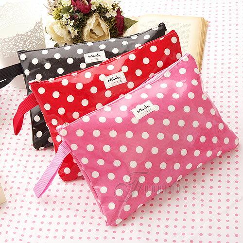 寶貝窩 Dandelion【MK061003】韓國直送Mink復古俏麗魅力大點點化妝包