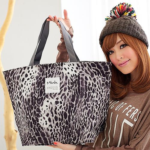 寶貝窩 Flavor【MN0743B】韓國直送韓製Mink野美花豹大梯形包