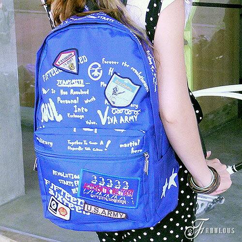 寶貝窩 Graceful【OG3320】美式街頭學院風格英文圖紋胸章設計輕盈尼龍後背包