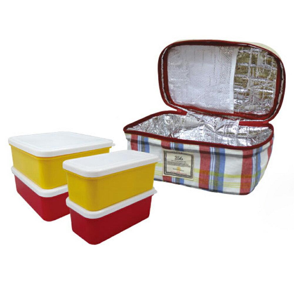 【DESTINO STYLE】256經典格紋四合一野餐保冷(溫)餐盒組 4