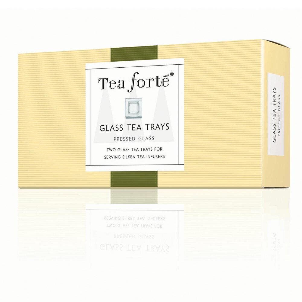 Tea Forte 2入玻璃方型茶托 GLASS TEA TRAY 2