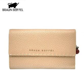 《BRAUN BUFFEL》荔枝紋系列-九卡扣式中夾-香檳金(BF074-247-GD)