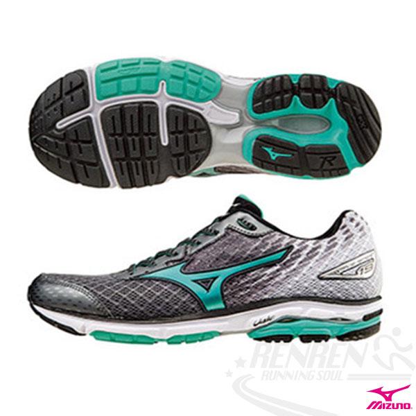 MIZUNO 美津濃 WAVE RIDER 19(W) 女慢跑鞋 路跑 (炭灰*粉綠*黑) 2016年下半年款