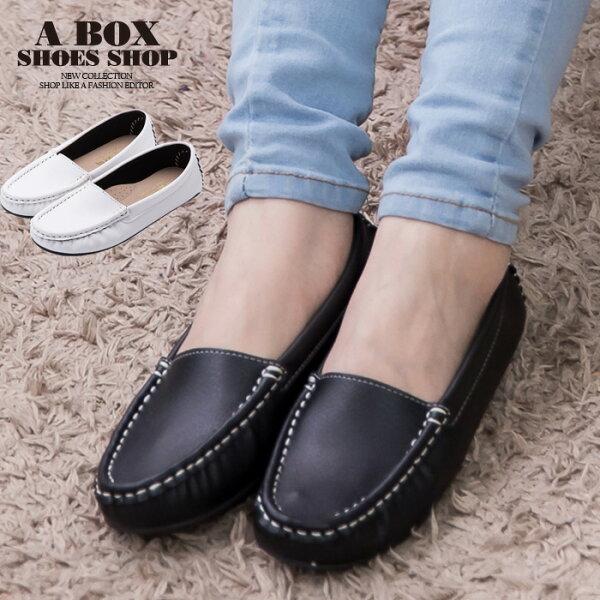格子舖*【ANW2317】MIT台灣製 摩登車縫線設計 素面透氣皮革 豆豆鞋 懶人鞋 2色