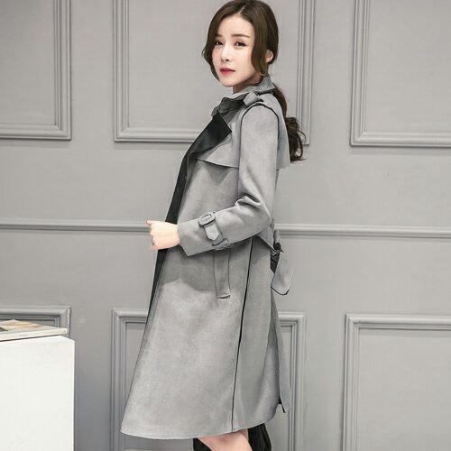 外套 - 雙色翻領絨皮中長款腰綁帶大衣【29155】藍色巴黎-現貨 + 預購 1