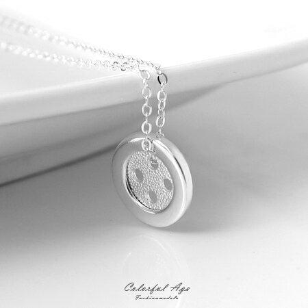 925純銀項鍊 幸運鈕扣 鎖骨鍊頸鍊 可愛甜美 典雅 柒彩年代~NPB59~抗過敏 ~