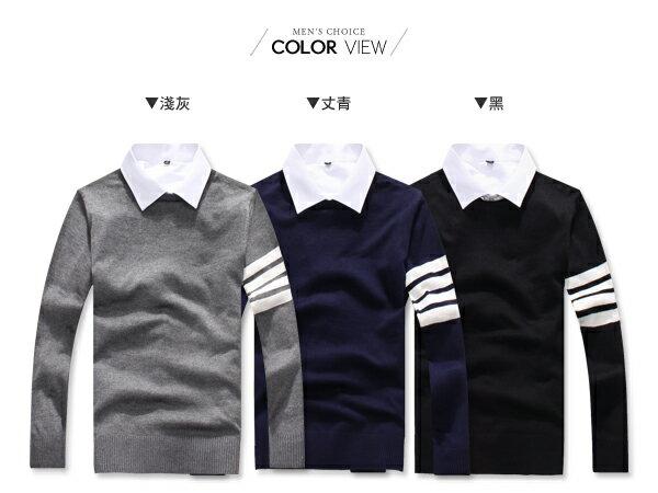 ☆BOY-2☆【PPK86035】英倫風單袖條紋鈕扣針織上衣 1