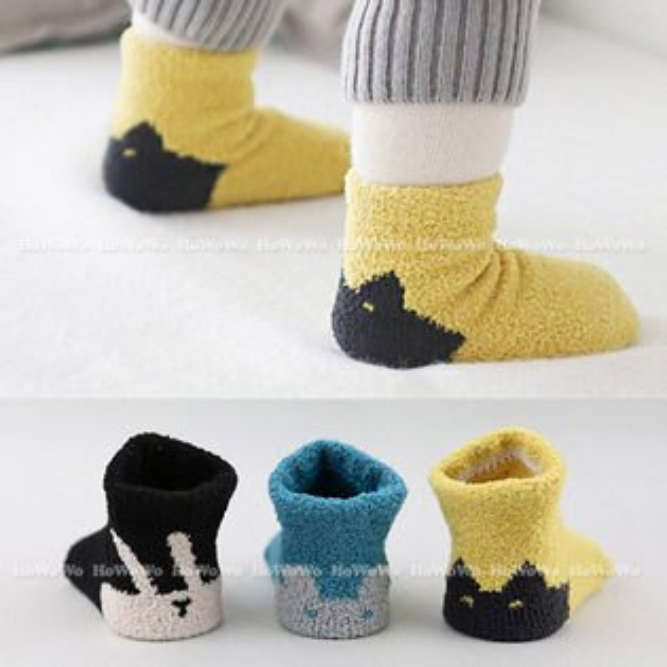 厚款童襪 寶寶襪卡通珊瑚絨短襪 嬰兒襪 防滑襪 0-4歲 CA1760