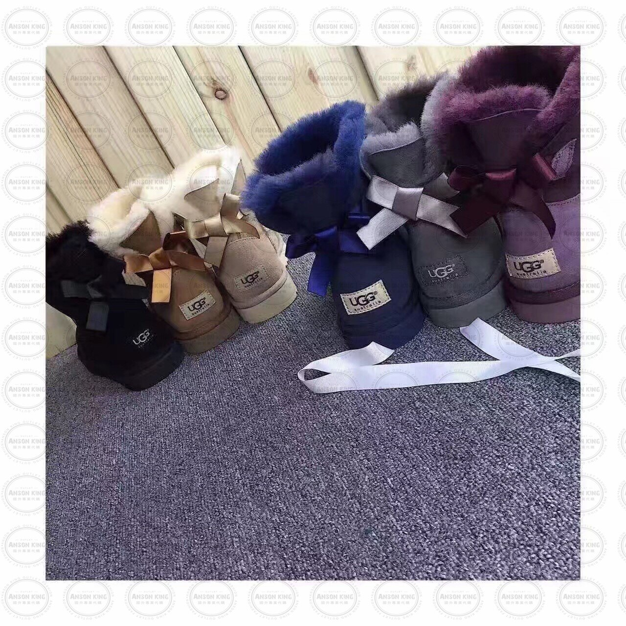 OUTLET正品代購 澳洲 UGG 單蝴蝶結羊皮毛一體 中長靴 保暖 真皮羊皮毛 雪靴 短靴 紫色 1