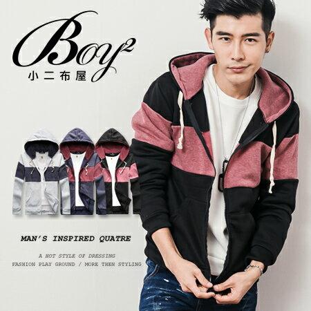 ☆BOY-2☆【OE10563】美式刷毛拼接連帽外套 0
