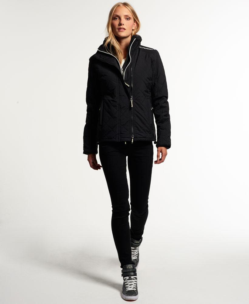 [女款] Outlet英國 極度乾燥 Superdry Hooded Sherpa 加厚保暖菱格紋絎縫羊羔絨防風衣 女款 黑 2