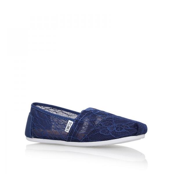 【TOMS】深藍色新款蕾絲平底休閒鞋  Navy Lace Women's Classics 3