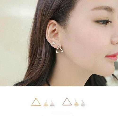 耳環 鏤空大小三角型三件套耳環耳釘【TSEG373】 BOBI  07/07 0