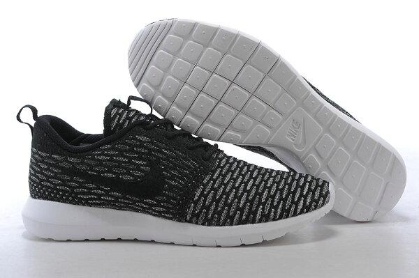 Nike Roshe Run Flyknit 倫敦編織飛線 慢跑鞋 運動鞋 男鞋 黑白