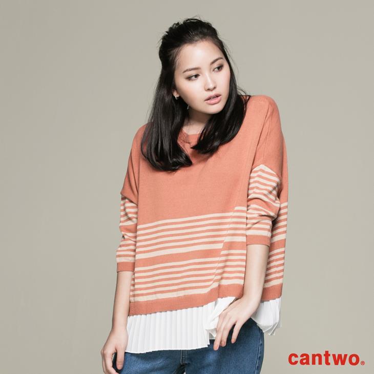 cantwo條紋後釦針織上衣(共三色) 0