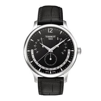 TISSOT天梭T0636371605700 TRADITION逆跳萬年曆石英腕錶/黑面42mm