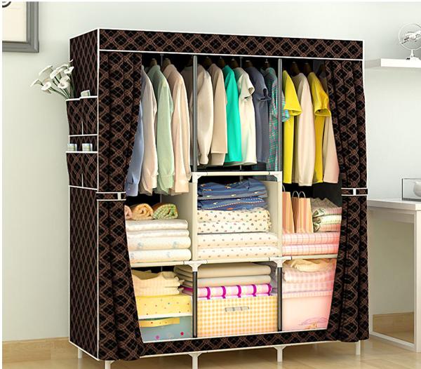 簡易衣櫃布藝櫥組裝鋼管加固鋼架簡約現代收納櫃