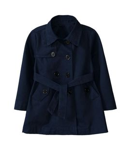 ☆傑媽童裝☆小女生有內裡風衣外套-深藍色【80988-1】