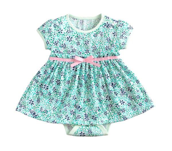☆傑媽童裝☆小女生純棉花樣款連身裙-綠底腰蝴蝶結【54052-1】