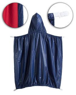 ☆傑媽童裝☆素色防風防雨披被/披風,可夾在背帶外用-深藍色【A0059-1】