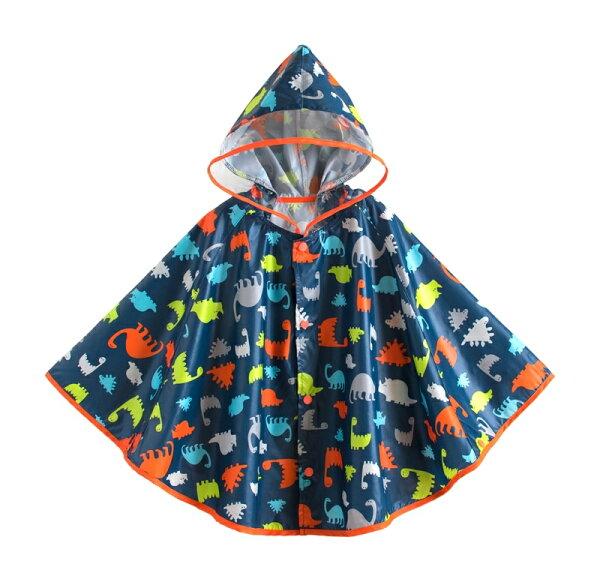 ☆傑媽童裝☆可愛圖樣透氣款披風式雨衣-恐龍【A0060-2】