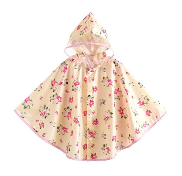 ☆傑媽童裝☆可愛圖樣透氣款披風式雨衣-粉花【A0060-4】